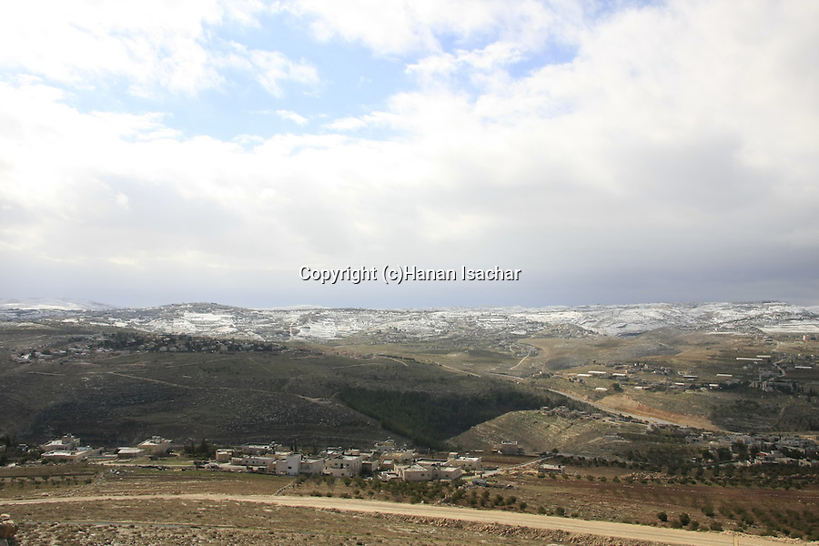 Judea, snow on the Judean Mountains, a view south-west from Herodion