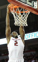 NWA Media/ J.T. Wampler -Arkansas' Alandise Harris dunks the ball against Utah Valley Saturday Jan. 3, 2015 at Bud Walton Arena in Fayetteville. The Hogs won 79-46.