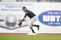 West Virginia Black Bears second baseman Tristan Gray (2) fields a ground ball during a game against the Batavia Muckdogs on August 7, 2017 at Dwyer Stadium in Batavia, New York.  West Virginia defeated Batavia 6-3.  (Mike Janes/Four Seam Images)