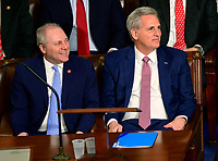 United States House Minority Whip Steve Scalise (Republican of Louisiana), left, and United States House Minority Leader Kevin McCarthy (Republican of California), right, listen as United States Representative Liz Cheney (Republican of Wyoming) makes a speech nominating McCarthy as Speaker of the US House of Representatives as the 116th Congress convenes for its opening session in the US House Chamber of the US Capitol in Washington, DC on Thursday, January 3, 2019. Photo Credit: Ron Sachs/CNP/AdMedia