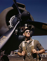 "Lieutenant ""Mike"" Hunter, Army pilot assigned to Douglas Aircraft Company, Long Beach, Calif. 1942"