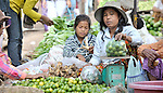 A woman sells limes in a market in the Cambodian village of Maung Rossey.