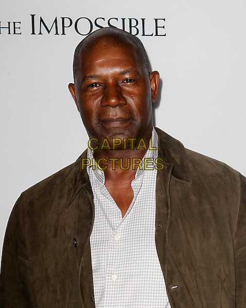 """Dennis Haysbert.""""The Impossible"""" Los Angeles Premiere held at Arclight Cinemas, Hollywood, California, USA..December 10th, 2012.headshot portrait white shirt green jacket.CAP/ADM/KB.©Kevan Brooks/AdMedia/Capital Pictures."""