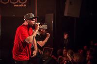 Die Hip-Hop-Gruppe Antilopen Gang aus Duesseldorf, Koeln und Berlin spielte am Samstag den 14. Maerz 2015 im ausverkauften Berliner Club SO36.<br /> Die Band besteht aus den Rappern Koljah Kolerikah (vorne), Panik Panzer und Danger Dan (hinten) und steht beim Toten Hosen-Label JKP unter Vertrag.<br /> 14.3.2015, Berlin<br /> Copyright: Christian-Ditsch.de<br /> [Inhaltsveraendernde Manipulation des Fotos nur nach ausdruecklicher Genehmigung des Fotografen. Vereinbarungen ueber Abtretung von Persoenlichkeitsrechten/Model Release der abgebildeten Person/Personen liegen nicht vor. NO MODEL RELEASE! Nur fuer Redaktionelle Zwecke. Don't publish without copyright Christian-Ditsch.de, Veroeffentlichung nur mit Fotografennennung, sowie gegen Honorar, MwSt. und Beleg. Konto: I N G - D i B a, IBAN DE58500105175400192269, BIC INGDDEFFXXX, Kontakt: post@christian-ditsch.de<br /> Bei der Bearbeitung der Dateiinformationen darf die Urheberkennzeichnung in den EXIF- und  IPTC-Daten nicht entfernt werden, diese sind in digitalen Medien nach &sect;95c UrhG rechtlich geschuetzt. Der Urhebervermerk wird gemaess &sect;13 UrhG verlangt.]
