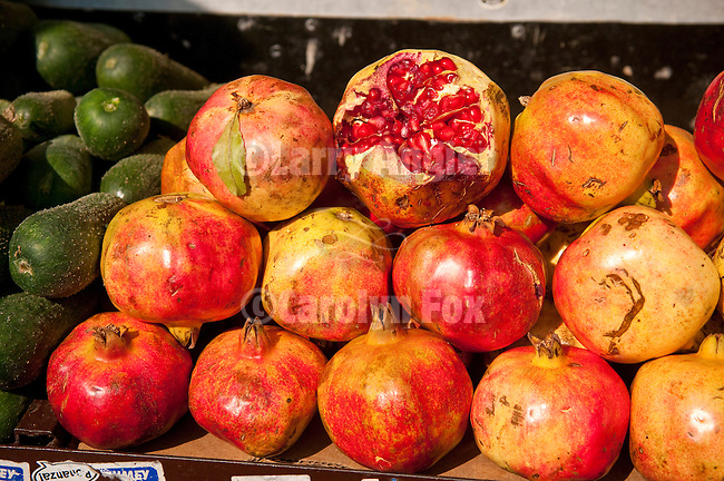 Ripe pomegranates for sale in a Belgrade, Serbia, greenmarket