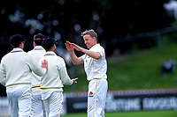 Wellington's Logan Van Beek celebrates the run out of Otago's Hamish Rutherford on day one of the Plunket Shield cricket match between the Wellington Firebirds and Otago Volts at Basin Reserve in Wellington, New Zealand on Monday, 21 October 2019. Photo: Dave Lintott / lintottphoto.co.nz
