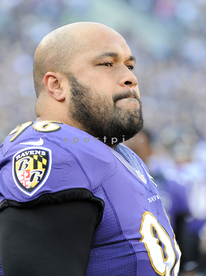Baltimore Ravens Ma'ake Kemoeatu (96) in action during a game against the Colts on January 6, 2013 at M&T Bank Stadium in Baltimore, MD. The Ravens beat the Colts 24-9.