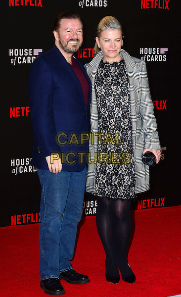 LONDON, UK: FEB 26: Ricky Gervais &amp; partner Jane Fallon at the House Of Cards premiere of third series of Netflix's critically-acclaimed political drama based on the British book and 1990s TV series. London, England, February 26th, 2015.<br />  CAP/JOR<br /> &copy;Nils Jorgensen/Capital Pictures