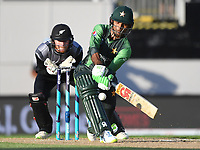 Pakistan's Fakhar Zaman hits out.<br /> Pakistan tour of New Zealand. T20 Series.2nd Twenty20 international cricket match, Eden Park, Auckland, New Zealand. Thursday 25 January 2018. &copy; Copyright Photo: Andrew Cornaga / www.Photosport.nz