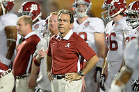 January 7, 2013: Alabama head coach Nick Saban before the start of the Discover BCS National Championship game between the Alabama Crimson Tide and the Notre Dame Fighting Irish at Sun Life Stadium in Miami Gardens, Fl