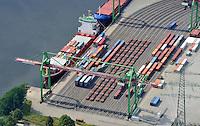 Container Terminal Luebeck : EUROPA, DEUTSCHLAND, SCHLESWIG- HOLSTEIN, (EUROPE, GERMANY), 19.7.2009: Hamburgs Kaimauer an der Ostsee,  Container Terminal Luebeck (CTL). Eine Landbruecke verbindet den Umschlagbetrieb an der Trave mit den Containerterminals an der Elbe. Terminalbetreiber combisped, HHLA-Tochter, taeglich zwei Shuttle-Zuege und eine ganze Flotte Spezial-Trucks ein. Sie verkuerzen den Transportweg zwischen Nord- und Ostsee deutlich. Der erste Containerterminal an der deutschen Ostseekueste h. In Luebeck-Siems wird nach dem LoLo-Verfahren (Lift-on/Lift-off) ohne lange Zwischenlagerung, Europa, Deutschland, Schleswig- Holstein, am Tag, am Tage, am Tage Tag tagsueber,  Container Terminal Container-Terminal, Bahn, Gueterbahn, Container, Globalisierung, Logistik, Transport, internationaler Handel, Welthandel, Container-Terminal Luebeck, Containerbruecke, Containerbruecken, Containerfrachter, Containerhaefen, Containerhafen, Umschlaghafen, Containerlogistik, Containerriese, Containerriesen, Containerschiff, Containerschiffe, Containerterminal, Containerumschlag, Feeder, Containerverkehr, Haefen, Hafen, Hafenwirtschaft, HHLA, Luftaufnahme, Luftaufnahmen, Luftbild, Luftbilder, Luftfoto, Luftfotos, Luftphoto, Luftphotos, Schiff, Schiffe, Seehaefen, Seehafen,  Vogelperspektive, Vogelperspektiven,  Wirtschaft, Wirtschaftszweig.c o p y r i g h t : A U F W I N D - L U F T B I L D E R . de.G e r t r u d - B a e u m e r - S t i e g 1 0 2, .2 1 0 3 5 H a m b u r g , G e r m a n y.P h o n e + 4 9 (0) 1 7 1 - 6 8 6 6 0 6 9 .E m a i l H w e i 1 @ a o l . c o m.w w w . a u f w i n d - l u f t b i l d e r . d e.K o n t o : P o s t b a n k H a m b u r g .B l z : 2 0 0 1 0 0 2 0 .K o n t o : 5 8 3 6 5 7 2 0 9.V e r o e f f e n t l i c h u n g  n u r  n a c h  H o n o r a r  a b s p r a c h e, N a m e n s n e n n u n g  u n d  B e l e g e x e m p l a r !.