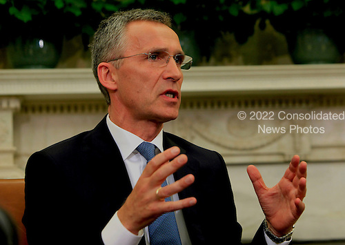 NATO Secretary-General Jens Stoltenberg makes remarks to the press as he and United States President Barack Obama meet in the Oval Office of the White House in Washington, D.C. on Tuesday, May 26, 2015 <br /> Credit: Dennis Brack / Pool via CNP