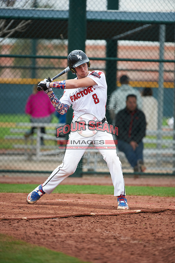 Ryan Kavulick (8) of Lutheran High North High School in Macomb, Michigan during the Under Armour All-American Pre-Season Tournament presented by Baseball Factory on January 15, 2017 at Sloan Park in Mesa, Arizona.  (Art Foxall/MJP/Four Seam Images)