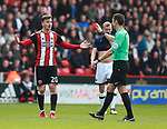 Lee Evans of Sheffield Utd reacts to Referees David Coote decision during the championship match at the Bramall Lane Stadium, Sheffield. Picture date 14th April 2018. Picture credit should read: Simon Bellis/Sportimage