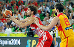 "Ante Tomic of Croatia (L) and Spain`s Marc Gasol in action during European basketball championship ""Eurobasket 2013""  basketball game for 3rd place between Spain and Croatia in Stozice Arena in Ljubljana, Slovenia, on September 22. 2013. (credit: Pedja Milosavljevic  / thepedja@gmail.com / +381641260959)"