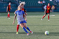 Rochester, NY - Friday May 27, 2016: Boston Breakers midfielder Kristie Mewis (19) and Western New York Flash defender Abigail Dahlkemper (13). The Western New York Flash defeated the Boston Breakers 4-0 during a regular season National Women's Soccer League (NWSL) match at Rochester Rhinos Stadium.