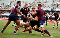 DURBAN, SOUTH AFRICA - APRIL 19: Scott Higginbotham of The St.George Queensland Reds tackling Daniel du Preez of the Cell C Sharks during the Super Rugby match between Cell C Sharks and Reds at Jonsson Kings Park Stadium on April 19, 2019 in Durban, South Africa. Photo: Steve Haag / stevehaagsports.com
