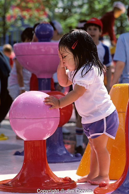 Expo 86 Vancouver BC young kid playing in water park with other kids