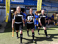 20190422 - Denderleeuw , BELGIUM : referees pictured with Shauni Depruyst (left) , Tina Tyteca and Thalia decoene (r) during the Under 16 final of Belgian cup 2019 , a soccer women game between AA Gent Ladies B and The Yellow Flames 1.0  , in the  Van Roystadion in Denderleeuw , Monday 22 th April 2019 . PHOTO SPORTPIX.BE | DAVID CATRY