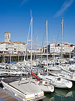 Yachts in the The Old Harbor, overlooking the court of women, the Big Clock and the dock of Duperré, La Rochelle Charente-Maritime France..