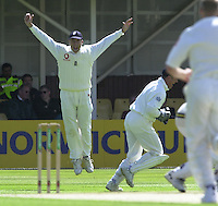 30/05/2002.Sport -Cricket - 2nd NPower Test -First Day.England vs Sri Lanka.England Captain, Nasser Hussain, leaps as another Sri lankian wicket falls [Mandatory Credit Peter Spurrier:Intersport Images]