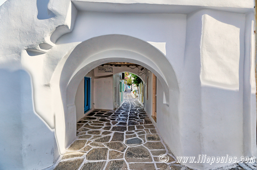 Alleys in the traditional village of Naousa in Paros island, Greece