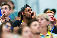 Picture by Rogan Thomson/SWpix.com - 17/07/2017 - Diving - Fina World Championships 2017 -  Duna Arena, Budapest, Hungary - Yona Knight-Wisdom of Jamaica cheers on Tom Daley and Dan Goodfellow of Great Britain as they compete in the Men's 10m Synchro Platform Final.