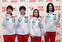 (L to R) Kaori Iwabuchi (JPN), Yuki Ito (JPN), Sara Takanashi (JPN), Yuka Seto (JPN),  <br /> JANUARY 11, 2018 - Ski Jumping : PyeongChang 2018 during informal designation players press conference of ski jumping Women's Japanese players at Sapporo, Hokkaido, Japan.<br /> (Photo by Jun Tsukida/AFLO)