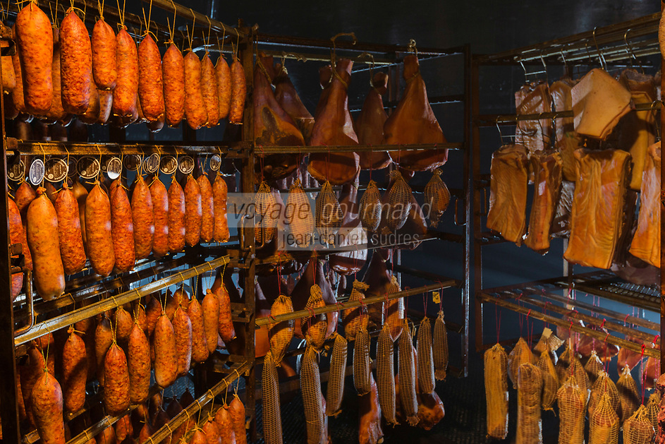 Europe/France/Franche-Comté/25/Doubs/Labergement-Sainte-Marie: Boucherie Paillard - Les salaisons dans le tuyé , salaisons de jambon, lard, saucisses de Morteau mises a fumer et secher dans le tuyé,// France, Doubs, Labergement Sainte Marie, butcher Paillard cured ham, bacon, sausage Morteau put a smoking and drying in the tuye, large traditional fireplace,<br /> Auto N°: 2013-111a