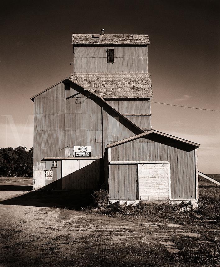 The exterior facade of a grain elevator.