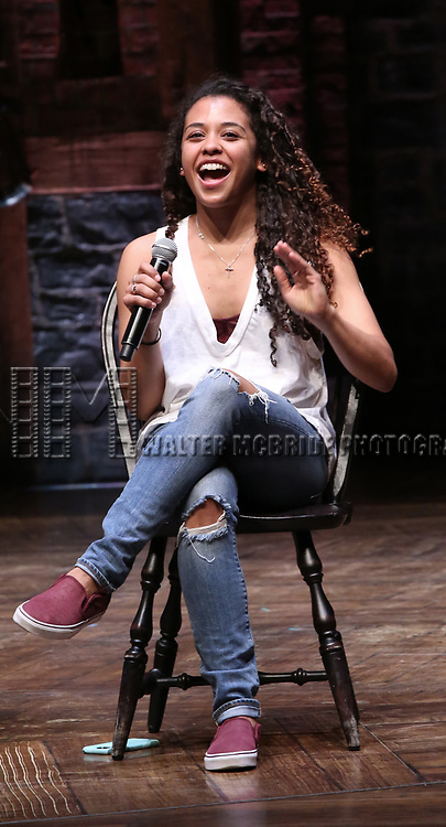 """Sasha Hollinger during a Q & A before The Rockefeller Foundation and The Gilder Lehrman Institute of American History sponsored High School student #eduHam matinee performance of """"Hamilton"""" at the Richard Rodgers Theatre on May 9, 2018 in New York City."""