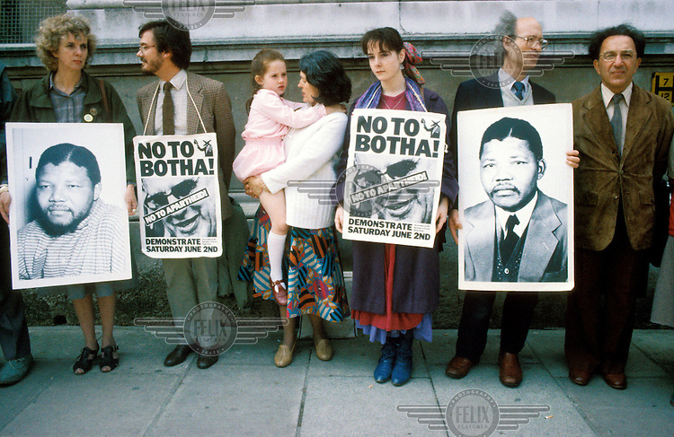 A protest rally in London against the apartheid regime in South Africa, demanding that Nelson Mandela be set free and saying 'No!' to President PW Botha.