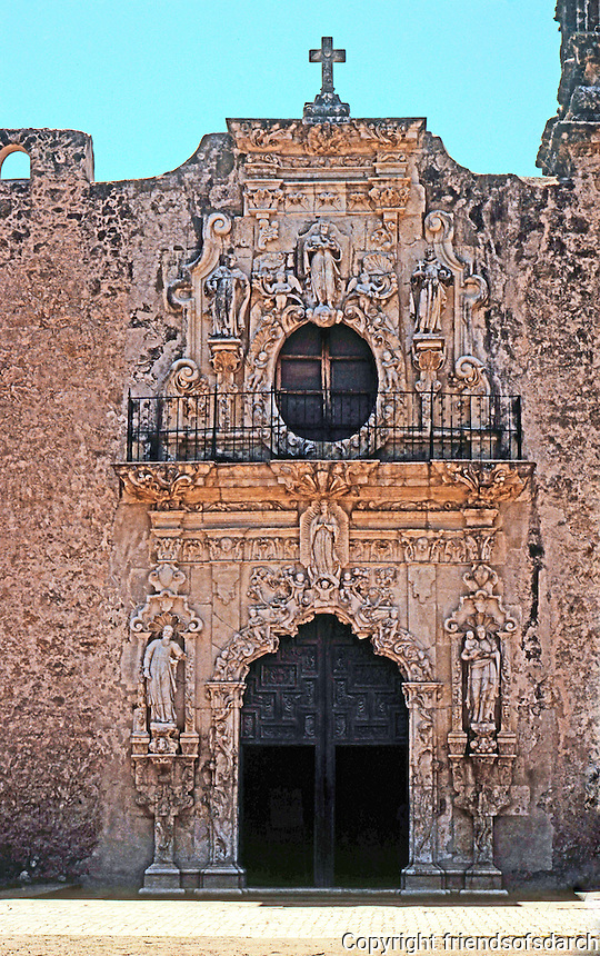 San Antonio:  Mission San Jose, church facade. Photo '96.