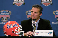 31 December 2009: Florida head coach Urban Meyer talks to the press during Sugar Bowl Press Conference at the Marriott Hotel in New Orleans, Louisiana.