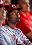 6 October 2017: Washington Nationals outfielder Howie Kendrick stands in the dugout awaiting the start of the NLDS against the Chicago Cubs at Nationals Park in Washington, DC. The Cubs shut out the Nationals 3-0 to take a 1-0 lead in their best of five Postseason series. Mandatory Credit: Ed Wolfstein Photo *** RAW (NEF) Image File Available ***