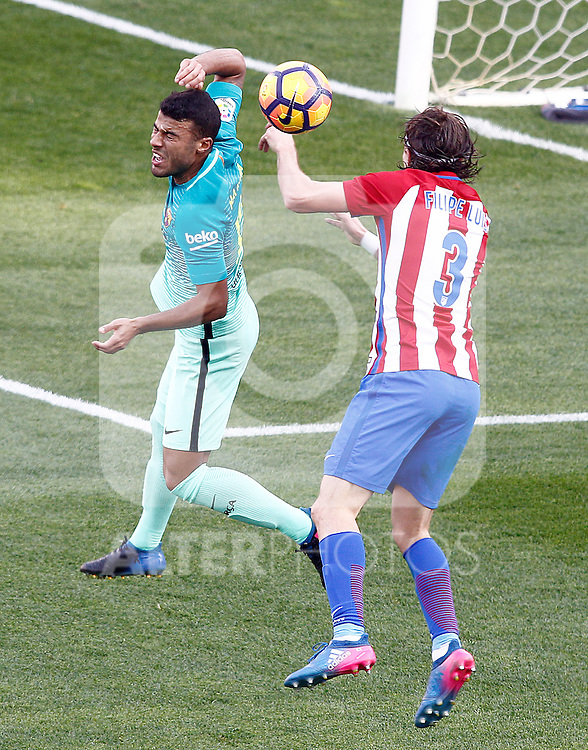 Atletico de Madrid's Filipe Luis (r) and FC Barcelona's Rafinha Alcantara during La Liga match. February 26,2017. (ALTERPHOTOS/Acero)