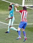 Atletico de Madrid's Filipe Luis (r) and FC Barcelona's Rafinha Alcantara during La Liga match. February 26,2017. (ALTERPHOTOS/Acero)