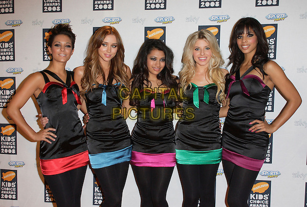 THE SATURDAYS .Nickelodeon Kids Choice Awards at the Excel Centre, London, England, September 13th 2008..half length back colors red pink blue green trim top tops girl band matching hands on hips leggings tights .CAP/ROS.©Steve Ross/Capital Pictures