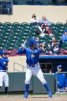 Whit Merrifield (3) of the Omaha Storm Chasers at bat against the Memphis Redbirds in Pacific Coast League action at Werner Park on April 22, 2015 in Papillion, Nebraska.  (Stephen Smith/Four Seam Images)