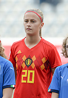 20180904 - LEUVEN , BELGIUM : Belgian Julie Biesmans pictured during the female soccer game between the Belgian Red Flames and Italy , the 8th and last game in the qualificaton for the World Championship qualification round in group 6 for France 2019, Tuesday 4 th September 2018 at OHL Stadion Den Dreef in Leuven , Belgium. PHOTO SPORTPIX.BE | DAVID CATRY