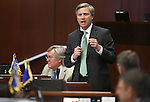Nevada Sen. Greg Brower, R-Reno, speaks during Senate floor debate on the final day of the 77th Legislative session at the Legislative Building in Carson City, Nev., on Monday, June 3, 2013. The Senate approved a bill allowing Washoe County commissioners to raise taxes for school maintence projects. (AP Photo/Cathleen Allison)