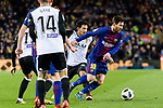 Lionel Messi of FC Barcelona (R) fights for the ball with Daniel Parejo Munoz of Valencia CF (L) during the Copa Del Rey 2017-18 match between FC Barcelona and Valencia CF at Camp Nou Stadium on 01 February 2018 in Barcelona, Spain. Photo by Vicens Gimenez / Power Sport Images