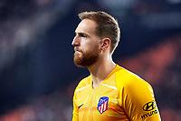 14th February 2020; Mestalla, Valencia, Spain; La Liga Football,Valencia versus Atletico Madrid; Goalkeeper Jan Oblak of Atletico de Madrid looks on