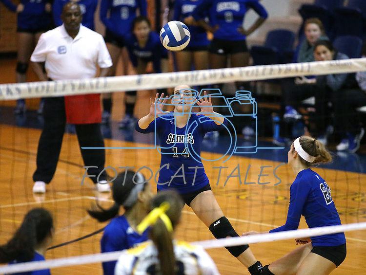 Marymount's Erin Allison passes in a college volleyball game against St. Mary's in Lexington Park, MD, on Wednesday, Oct. 29, 2014. Marymount won 3-2 to go 24-9 on the season.<br />