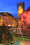 France, Alsace.  <br /> I used a tripod and got a much better image than without one.  To make life easier, determine your camera's position before attaching it to the tripod. Fountain in Ribeauville, Alsace region, France
