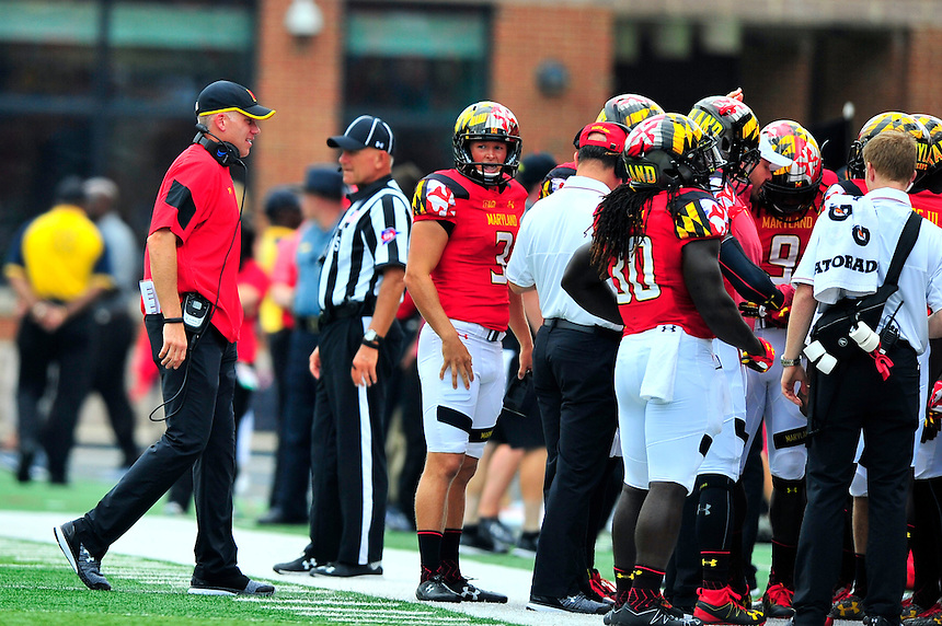 Head coach DJ Durkin heads back to the sideline after calling out a play. Maryland routed Howard 52-13 during home season opener at Capital One Field in College Park, MD on Saturday, September 3, 2016.  Alan P. Santos/DC Sports Box.