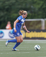 Boston Breakers forward Katie Schoepfer (12) brings the ball forward.  In a National Women's Soccer League Elite (NWSL) match, Sky Blue FC (white) defeated the Boston Breakers (blue), 3-2, at Dilboy Stadium on June 16, 2013.