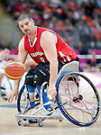 LONDON, ENGLAND 30/08/12: Adam Lancia competes in the Men's Wheelchair Basketball preliminary round CAN vs. JPN at the London 2012 Paralympic Games at the Basketball Arena (Photo by: Courtney Pollock/Canadian Paralympic Committee)