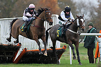 Dundrum Dancer ridden by Killian Moore (R) and Hail Tiberius ridden by Alain Cawley in jumping action during the Murfitts Industries Novices Handicap Hurdle