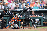 Mississippi State Bulldogs first baseman Tanner Allen (5) follows through on his swing during Game 4 of the NCAA College World Series against the Auburn Tigers on June 16, 2019 at TD Ameritrade Park in Omaha, Nebraska. Mississippi State defeated Auburn 5-4. (Andrew Woolley/Four Seam Images)